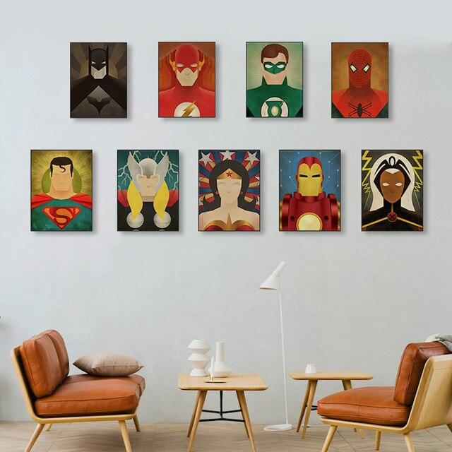 Superhero Movie Canvas Art Print Poster Batman Ironman Spiderman Wall Picture Kids Room Home Decor Painting No Frame
