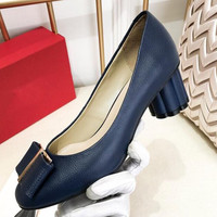 New high heel women's shoes Cowhide bow Round head Crude heel Black, wine red Ladies Shoes heels zapatos mujer size 35 40