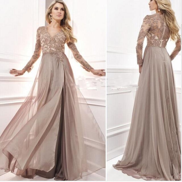 Robe De Soriee New Simple Wedding Dress Full Sleeve Lace: Robe De Soiree Lace Appliques Beaded Long Sleeves Evening