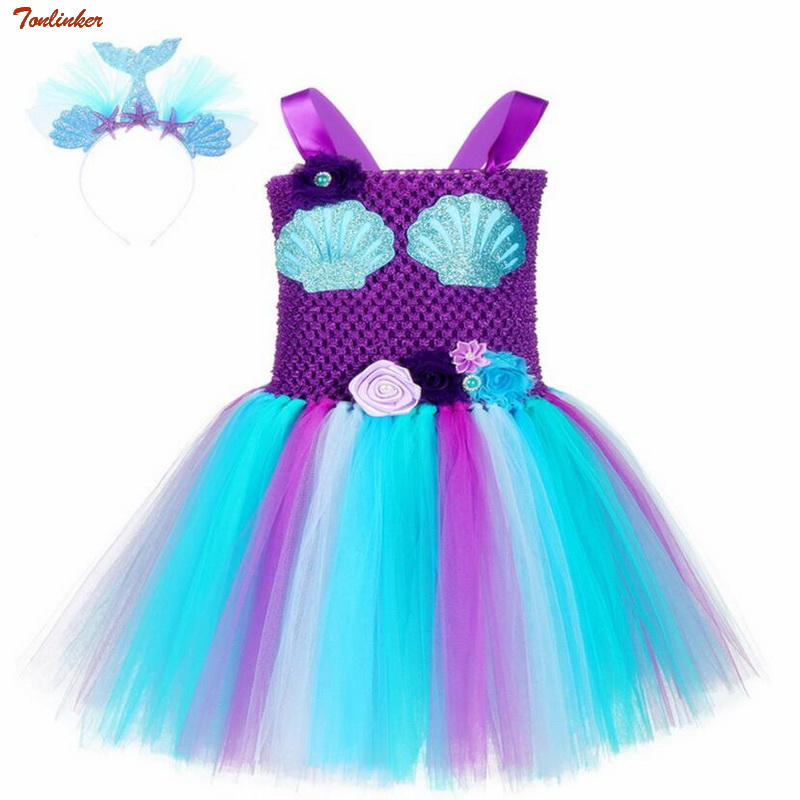 Unicorn Colorful Flower Girl Dress with Headband Birthday Wedding Bridesmaid Set