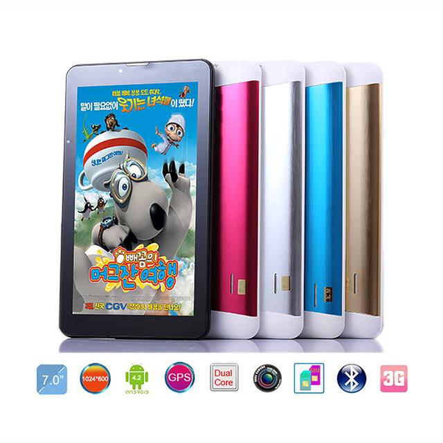 "Más barata tableta Dual SIM 7 ""android HD 1024*600 pxl 8 GB 3G Phablet doble Cámara Kids Niños Gamepad GPS Wifi Tablet pc de 7 pulgadas"