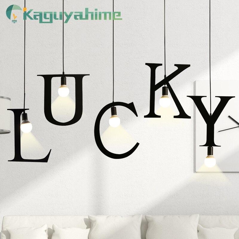 Kaguyahime Pendant Lights E27 DIY Letter Light Creative A To Z Iron Hanglamp 100cm Nordic Led Decor Lamps For Loft Living Room