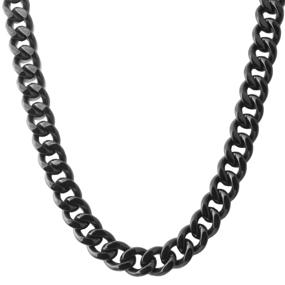 Hot Sale Mens Necklace Fashion 13 15MM 7 30 quot Stainless Steel Vintage Black Curb Cuban Chain Necklace Charm Jewelry For Women Men in Chain Necklaces from Jewelry amp Accessories
