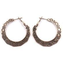 Fashion Ethnic Carved Silver Hoop Earrings Gold Geometric Round Hyperbole Zinc Alloy Women Ear Rings  Aretes De Mujer Oro