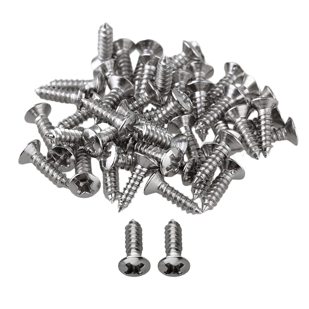 Yibuy 50 x Chrome Guitar Bass Pickguard Screws For Guitar Accessories musiclily 3ply pvc outline pickguard for fenderstrat st guitar custom