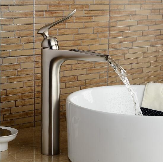 Brushed nickel black chrome bathroom sink faucet single for Chrome or brushed nickel kitchen faucet