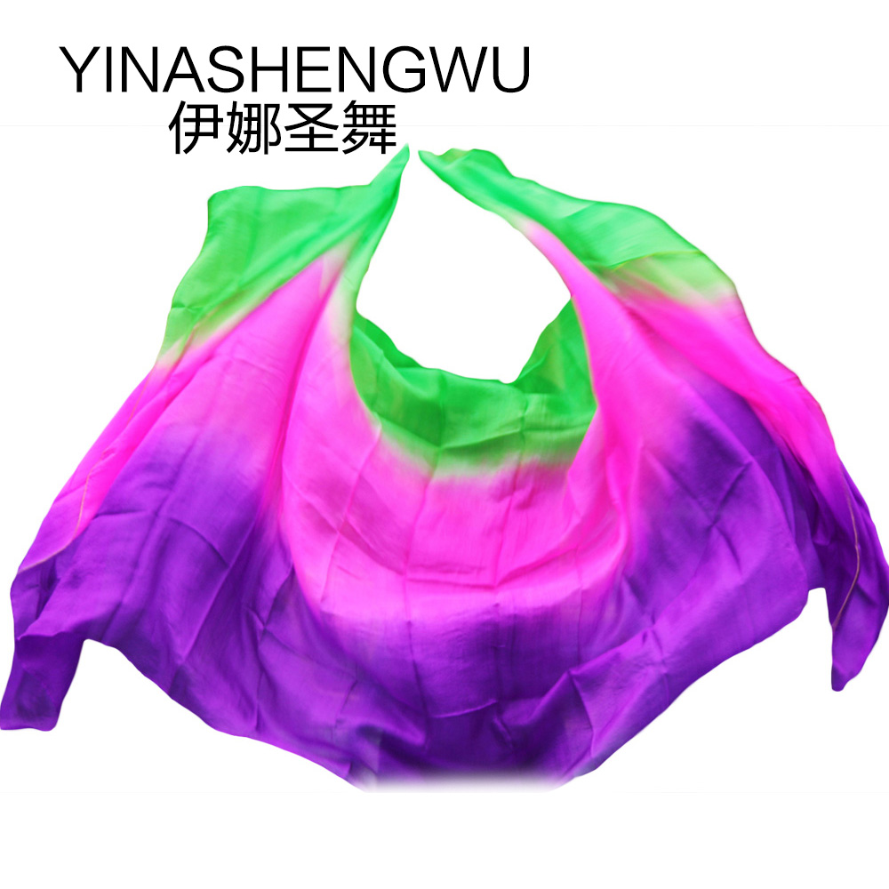 Newest Pure Silk Belly Dance Veils Belly Dance Scarf Silk Veils Practice Stage Performance Purple+green+rose
