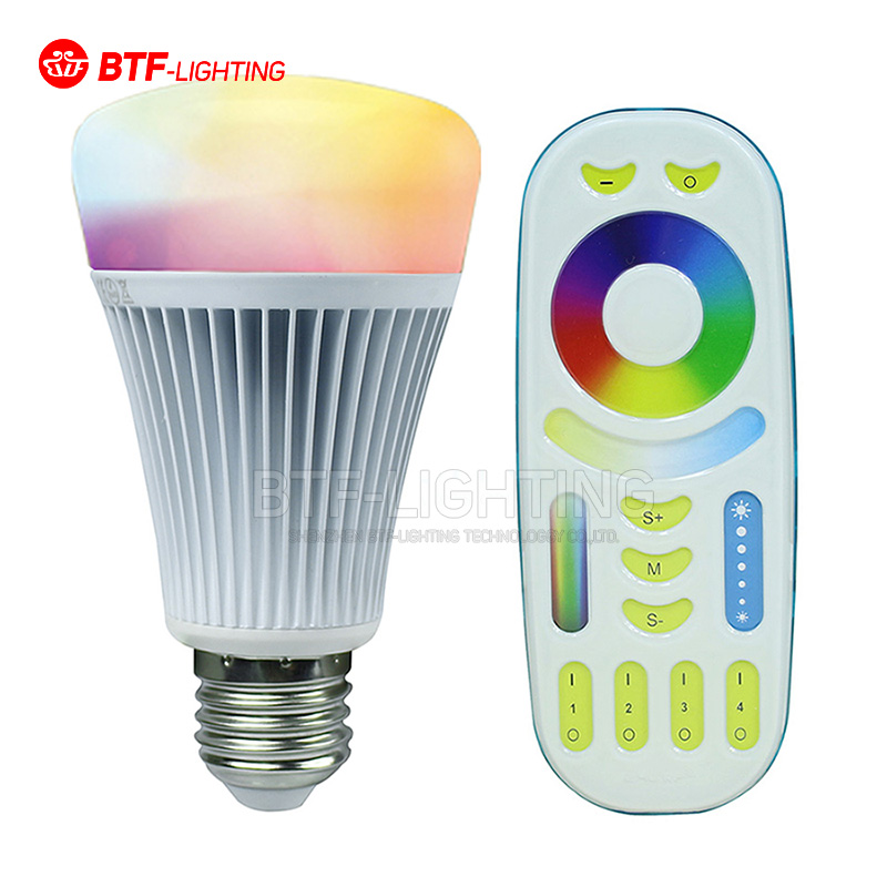 2.4G 4 Group 8W E27 RGBW  LED Light Bulb , Mi-light WiFi controller, 2.4G 4-zone RF Touch Remote mi light wifi led controller 4x2 4g dc12v 24v led controller rgbw 4 zone rf remote control for 5050 3528 led strip light