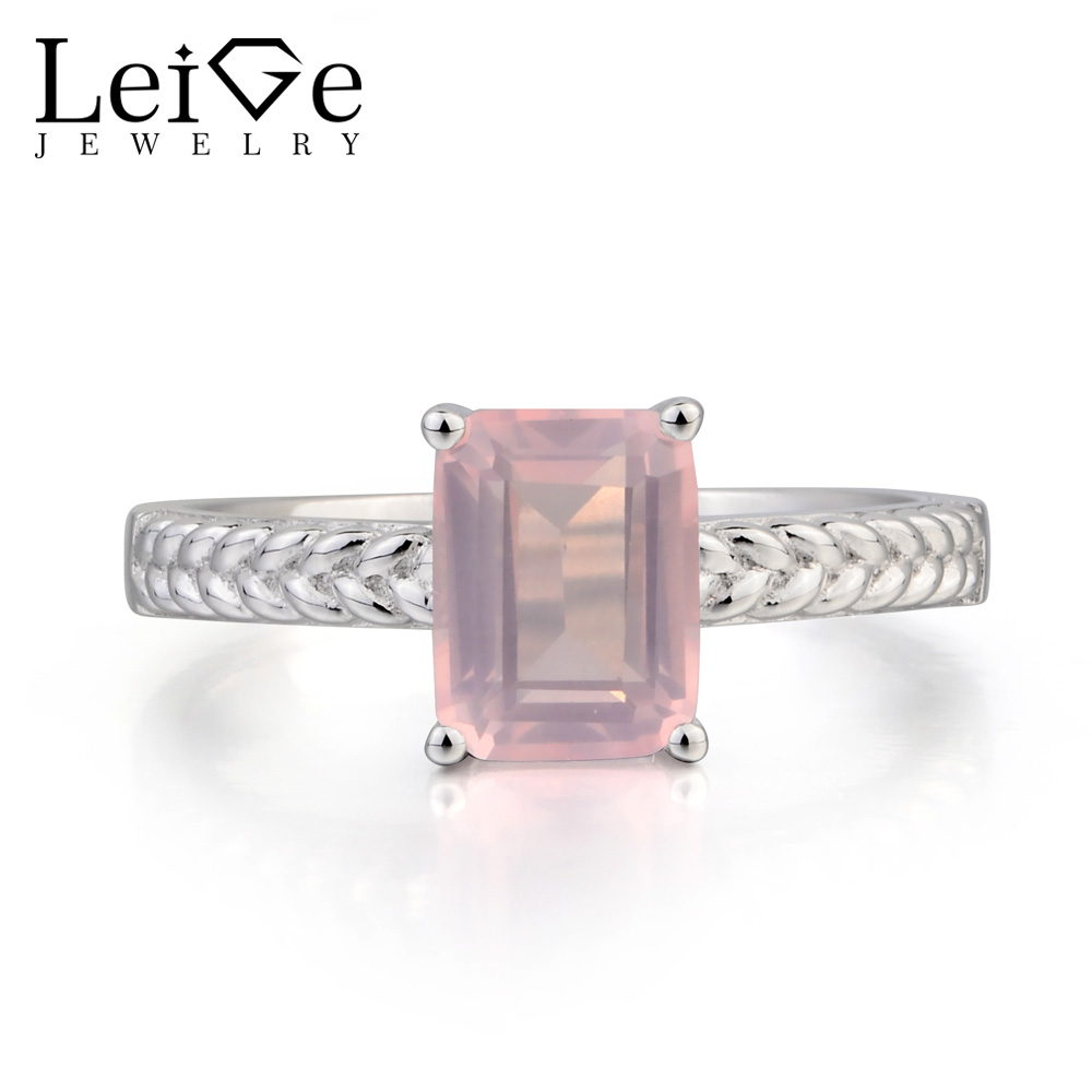 Leige Jewelry Natural Pink Quartz Ring Anniversary Ring Emerald Cut Pink Gemstone 925 Sterling Silver Ring Solitaire Ring Gifts leige jewelry solitaire ring natural green amethyst ring anniversary ring emerald cut green gemstone 925 sterling silver gifts