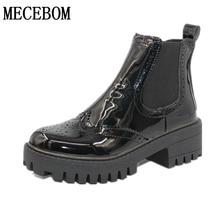 Женские Ботинки размер 35–39 мотоциклетные ботинки челси Черные ботинки на шнуровке Женская обувь; ботильоны непромокаемые зимние теплые CF82207W