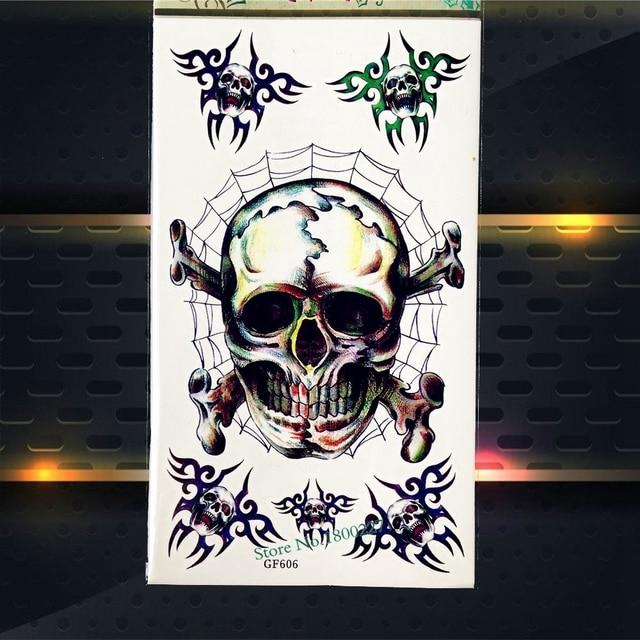 3d spider skull temporary tattoo brain box waterproof henna tattoo sticker pgf606 halloween diy fake flash