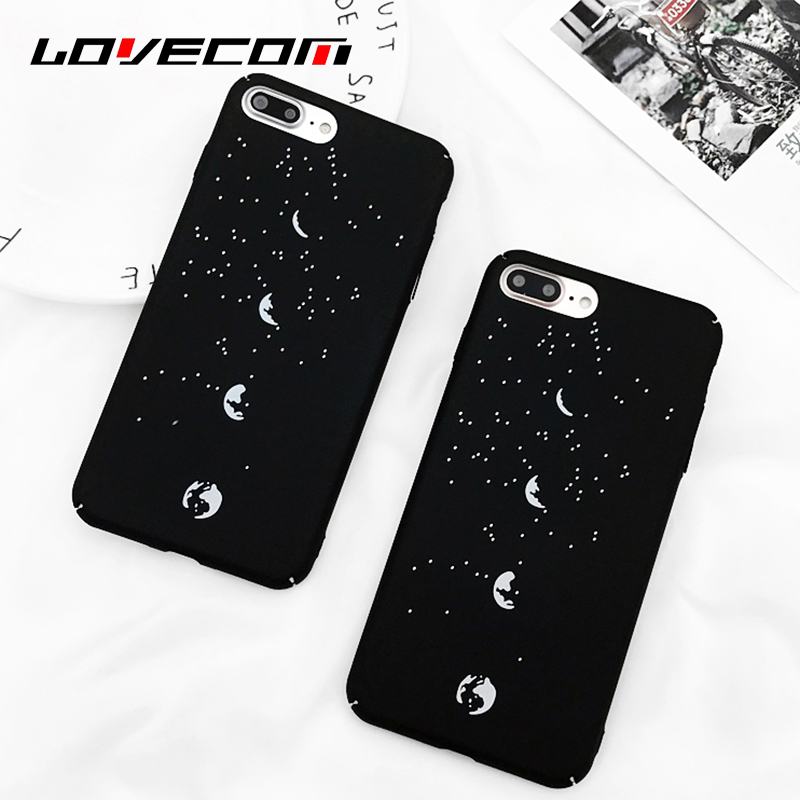 LOVECOM Fashion Starry Moon Eclipse Phone Case For iPhone 7 7 Plus matte Hard Plastic Back Cover Cases Coque