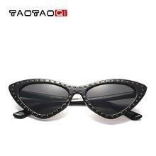TAOTAOQI Brand Cat Eye Sunglasses Women Luxury Designer Triangle Small Frame Sun Glasses UV400 Female Eyewear Oculos