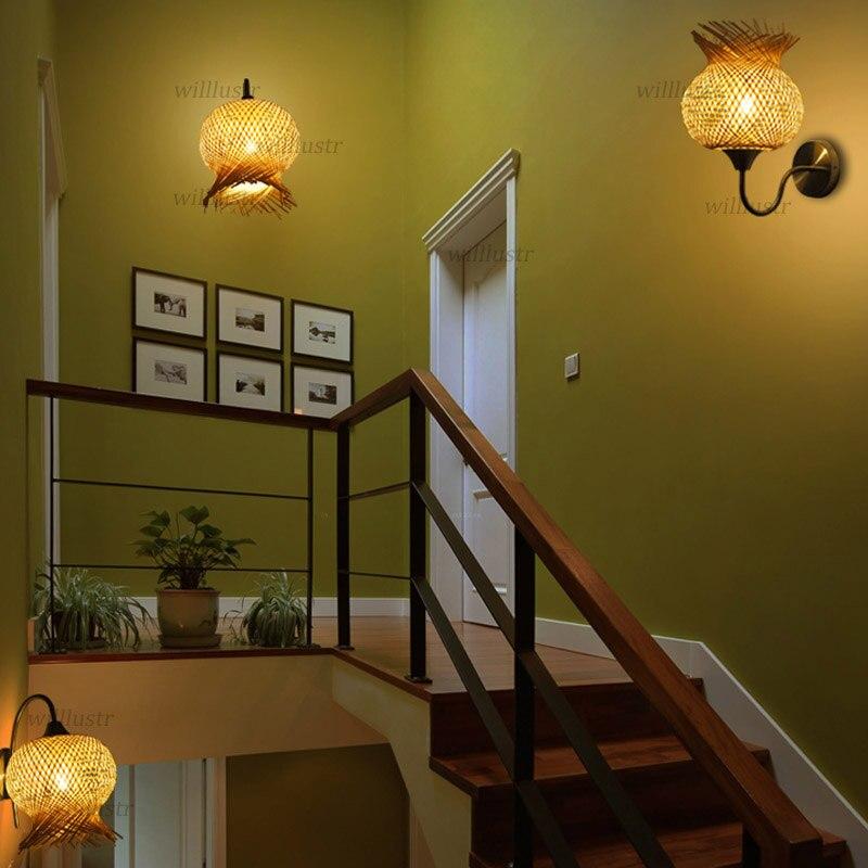 Бамбуковый настенный светильник бра, украшенный цветами, креативный, ручной работы, японский стиль, бра, проходной дверной проем, фойе, коридор, лестница, чайный домик, кафе, прикроватный светильник - 6