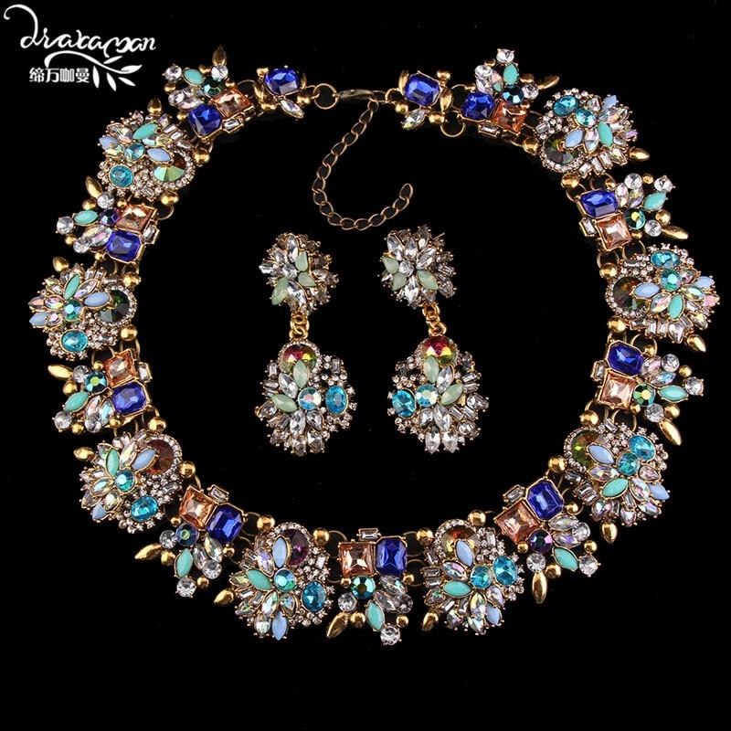 Dvacaman luxe Femme Bijoux cristal fleur mariage indien Bijoux de mariée ensembles femmes déclaration collier et boucles d'oreilles accessoires A31