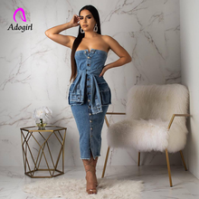 Slash Neck Women Denim Dress Backless Midi Summer Vestidos 2019 New Pocket Button Jeans Vintage Ladies Dresses