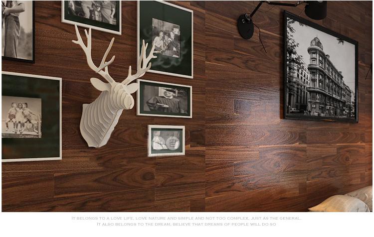 Deer Head Wooden Veneer Shape Vintage Wood Birdcage Christmas Embellishment