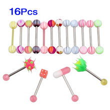 16X Tongue Nipple Piercing Tongue Piercing Steel Rods New