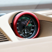 FIT FOR Porsche Cayenne 2018 2019 Aluminium Alloy Interior Accessories Center Clock Compass Cover Ring Trim 1PCS