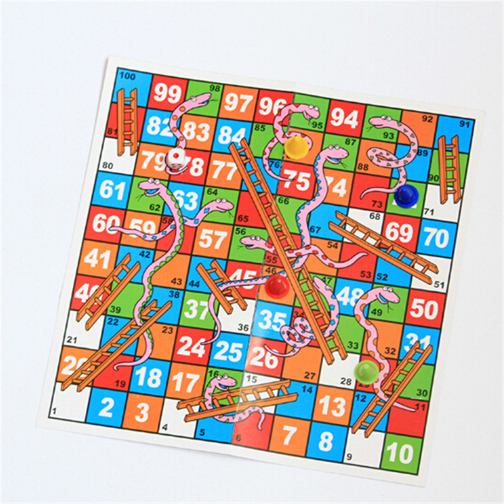 Portable Snakes Ladders Puzzle Game Creative Funny Folding Snake Chess Toys