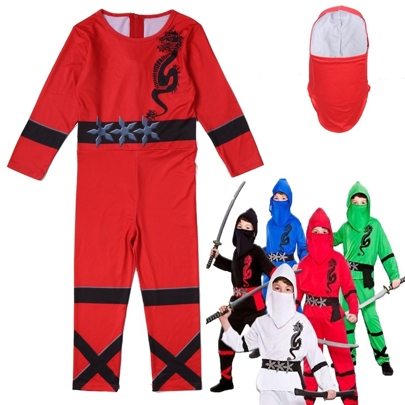Red Ninjago Cosplay Boys Jumpsuits Legoo Ninja Costumes Halloween Christmas Fancy Party Dress Girls Streetwear Ninja Cosplay
