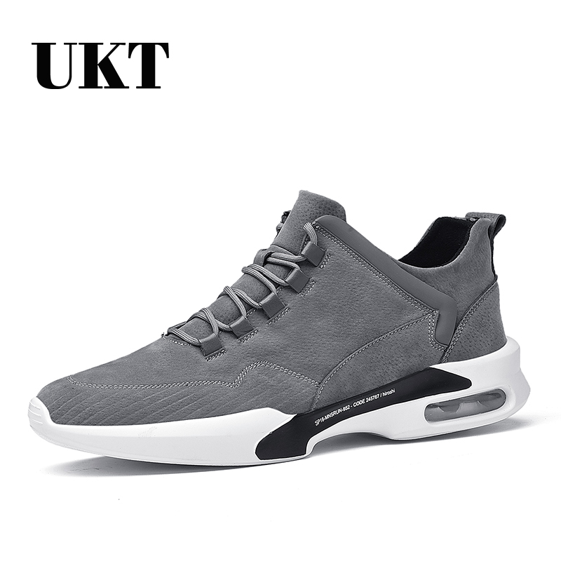 Brand Men Running Shoes Spring Genuine Leather Cushioning Lace Up Light Mens Sport Shoes