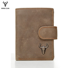 Mingclan Menn Lommebok Crazy Horse Original Leather Male Wallets Rfid Blokkerende Mynt Pung Flip ID Kredittkort Holder Skjult Pocket
