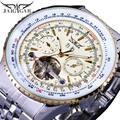 Jaragar Herren Luxus Marke Automatische Mechanische Uhren Silber Weiß Edelstahl Lünette Strap Tourbillon Datum Männer der Armbanduhr-in Mechanische Uhren aus Uhren bei