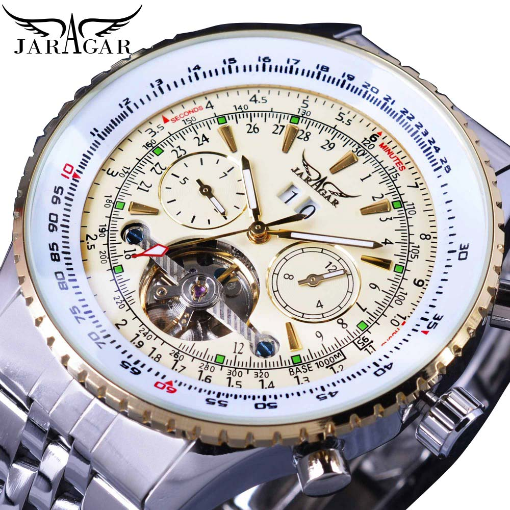 Jaragar Mens Luxury Brand Automatic Mechanical Watches Silver White Stainless Steel Bezel Strap Tourbillon Date Wristwatch