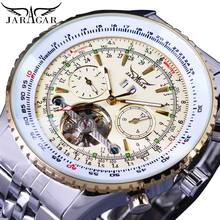 Jaragar Mens Luxury Brand Automatic Mechanical Watches Silver White Stainless Steel Bezel Strap Tourbillon Date Men's Wristwatch