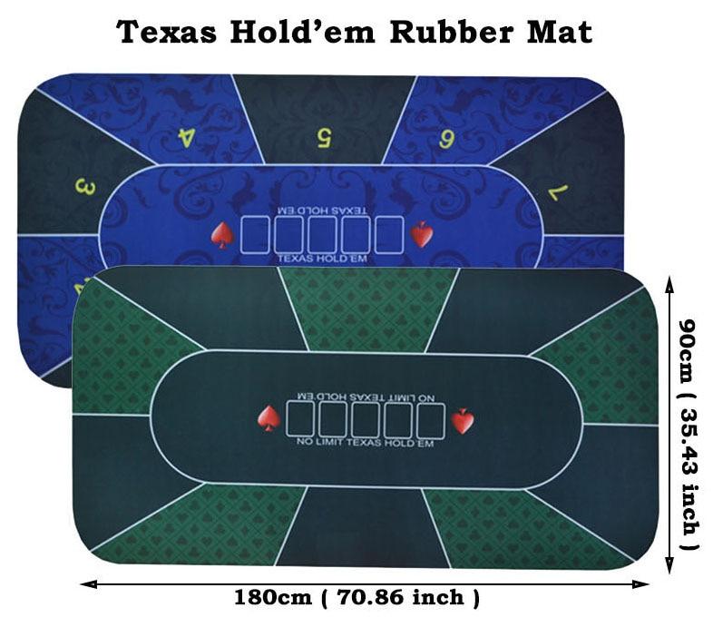 1 Pc Texas Hold'em Gummi Matte Poker Spiel Tabelle Top Digitaldruck Wildleder Casino Layout Mit Trage Tasche Größe: 90x180 Cm