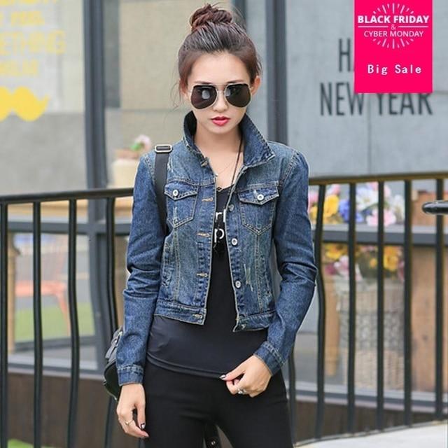 47d01a4580817 2019 autumn Jeans jacket women fashion casual slim short jean tops vintage  full sleeve denim jacket woman small coat w1063