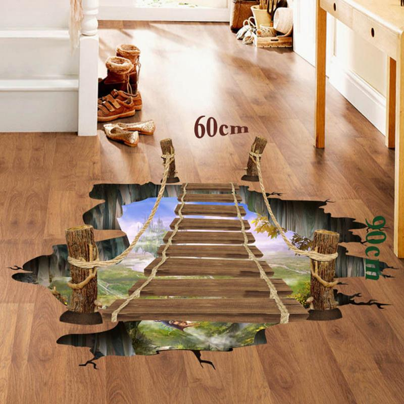 3d floor wall sticker removable bridge mural decals vinyl - 3d vinyl wandtattoo ...