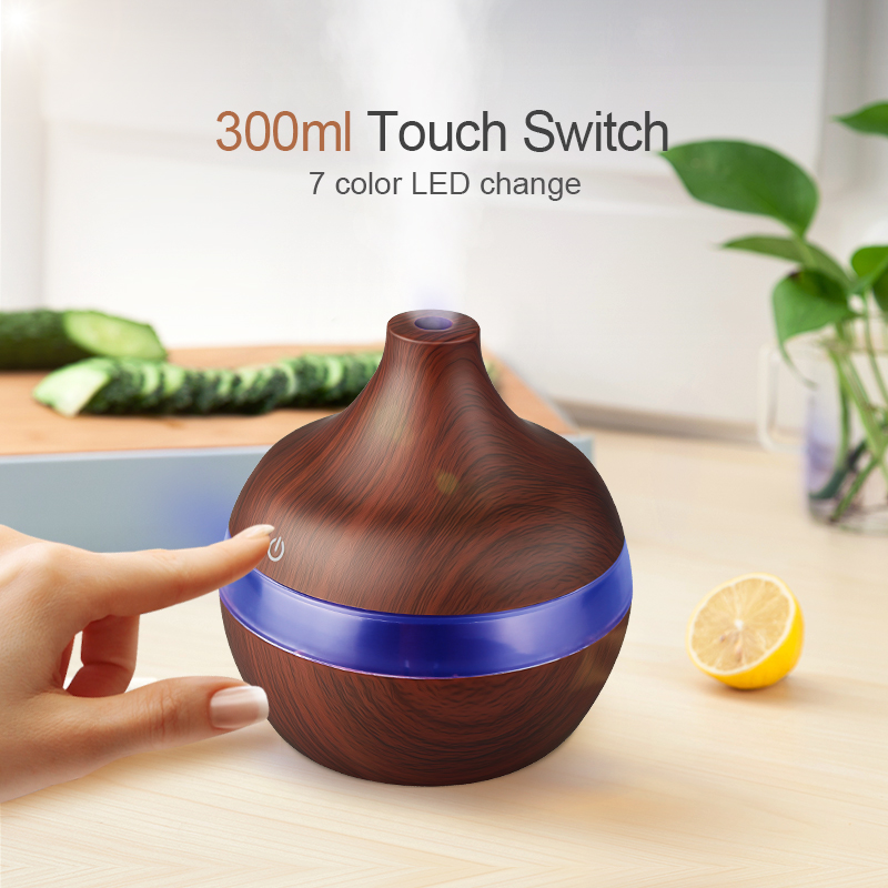 Wood Grain Air Humidifier With 300ML Capacity USB Electric Aroma Essential Oil Diffuser With 7 Colors Changing LED Lights Whisper Quiet Mist Maker