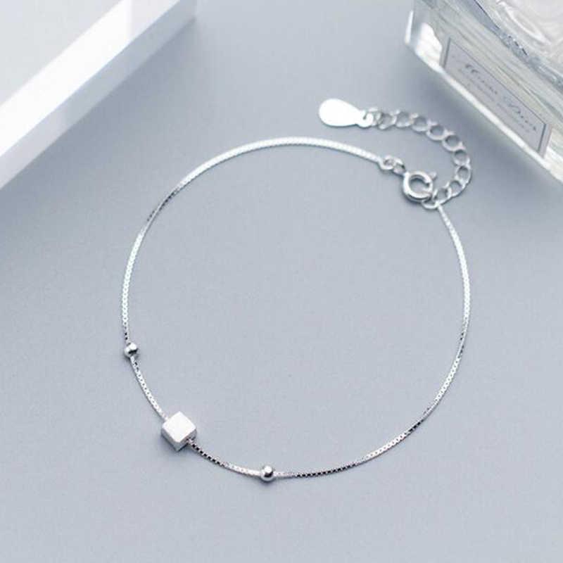 Jisensp 925 пробы серебро, кубического площади браслет простой шарик манжеты Браслеты для Для женщин звено цепи браслет homme браслеты