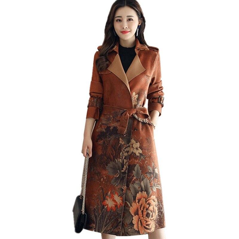 a61381b3e1 Mujeres Trench Cinturón Delgado Otoño Tamaño Coat Floral Primavera Elegante  F515 Atrapado Con Más Gamuza 2018 Multiple Viento El Mujer Por 1XdB1