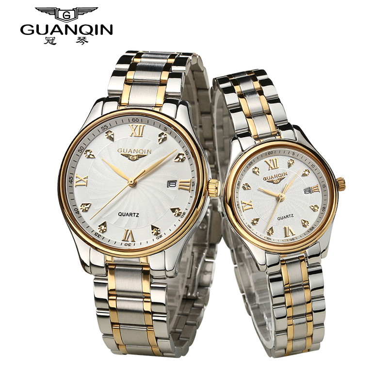 Luxury Couples Watch Pair Brand GUANQIN Watches With Date Calendar Quartz Sapphire Love Rhinestone Watch Waterproof Wristwatches цена и фото