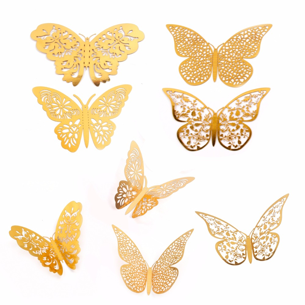FENGRISE 12pcs 3D Butterfly Wall Stickers Gold Hollow Butterfly Home ...