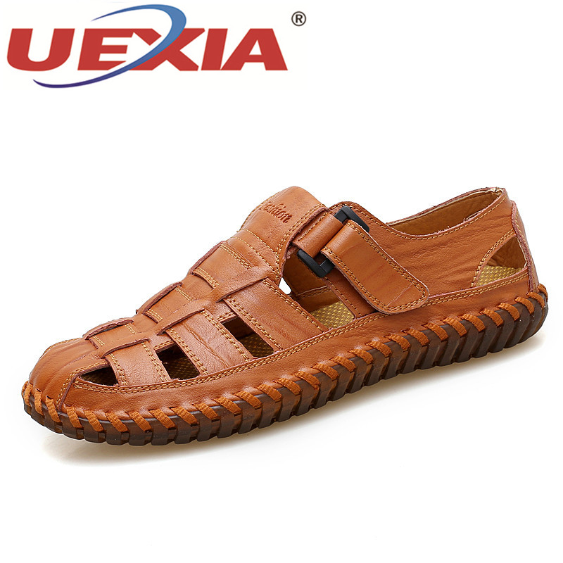UEXIA Big Size Hand Made PU Leather Summer Soft Male Sandals Shoes For Men Breathable Light Beach Shoes Casual Walking Sandals