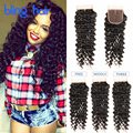 Mink Brazilian Curly Lace Closure Deep Wave Brazilian Hair Closure 8-20 Inch 7A Brazillian Deep Wave Closure Bleached Knots 4x4
