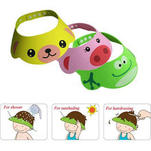 2019 Newest Hot Soft Adjustable Bathing Shower Cap EVA Hat Baby Kids Shampoo Wash Hair Shield Frog Pig Bear Cartoon Shower Cap(China)