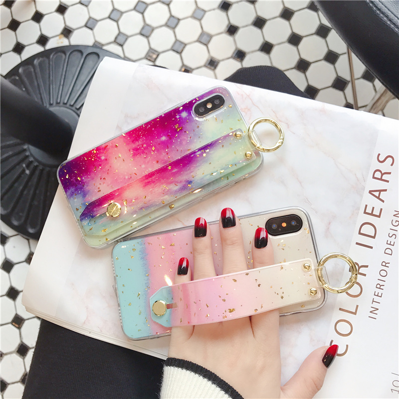 1 SoCouple Wrist Strap Soft TPU Phone Case For iphone 7 8 6 6s plus Case For iphone X Xs max XR  Marble Gold Foil Holder Case