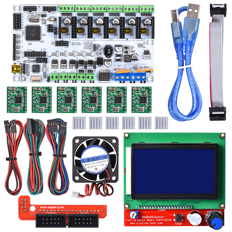 Rumba Motherboard+ 12864 LCD Controller Display+Jumper Wire+ A4988 Stepper Motor Driver+ 4015 Fan For Reprap 3D Printer Parts diy biqu rumba 3d printer rumba control board lcd 12864 controller display jumper wire a4988 driver for reprap 3d printer kit103
