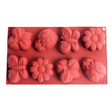 Flower Silicone Soap Mold Insect Shape 8-Cavity Handmade Candy Chocolate Mould Cake Decoration Tools