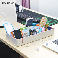 LVV HOME office desktop storage box/Rectangular multi grid student desks sundries finishing boxs home organization