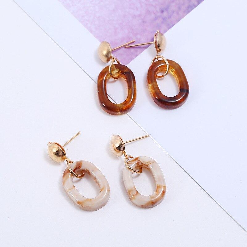 Korean Fashion Simple Resin Oval Small Dangle Earrings for ...