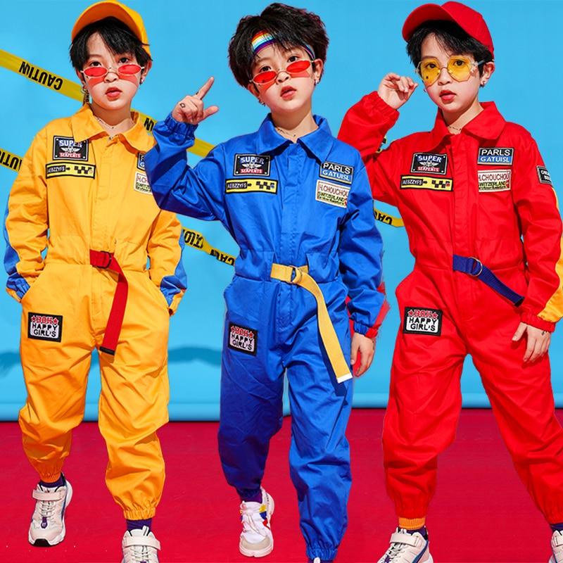2019 Jazz Dance Costumes Kids Hip Hop Clothing Boys Long Sleeve Workwear Jumpsuit Girls Street Dancewear