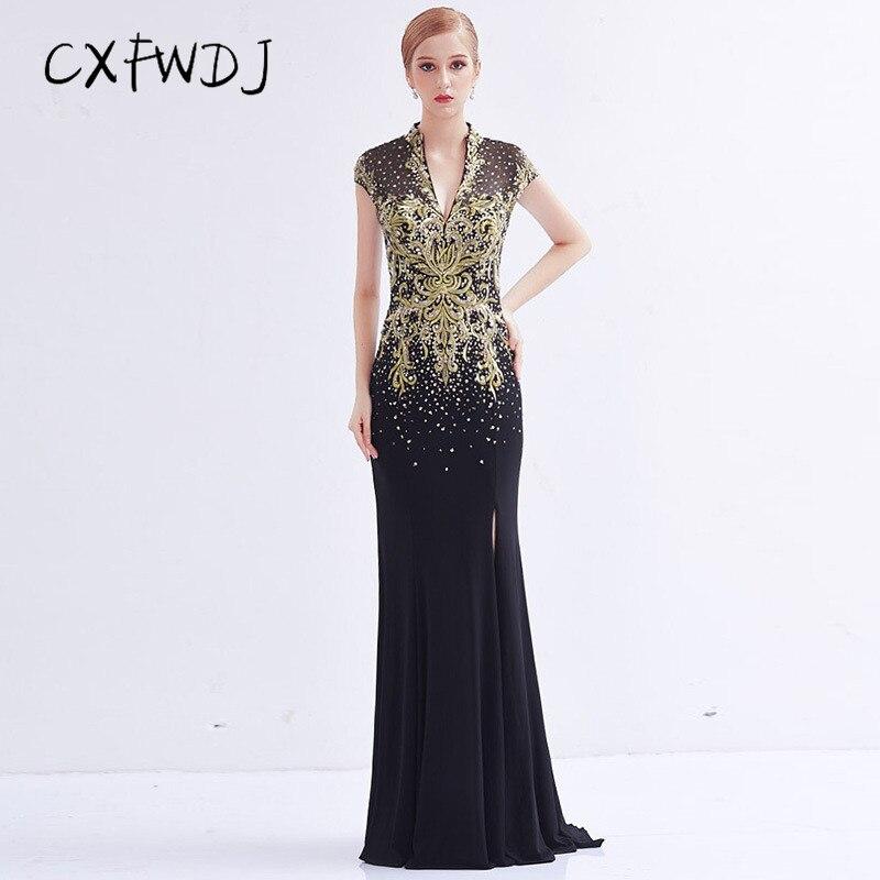 Haut de gamme cristal noir chanvre fait à la main broderie diamant 2018 nouveau Sexy col en v profond queue de poisson longues femmes tenue de soirée robes