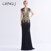High end Black Crystal Hemp Hand Made Embroidery Diamond 2018 New Sexy Deep V Neck Fish Tail Long Women's Evening Wear Dresses