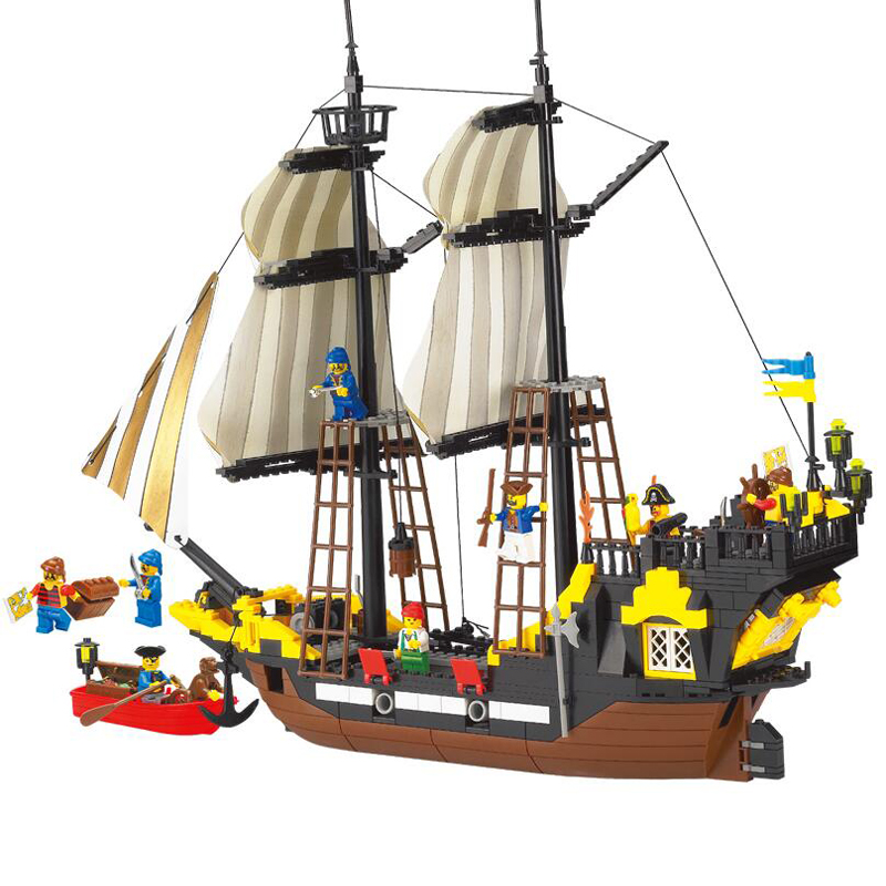 590PC Pirate Series Toy Pirate Ship Weapons Assembling DIY Educational Building Block Set  Compatible With Lepin susengo pirate model toy pirate ship 857pcs building block large vessels figures kids children gift compatible with lepin